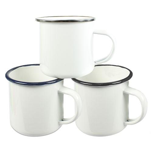 Emailletasse weiß 12oz, mit farbigem Tassenrand