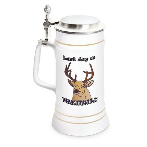 Bierkrug Upper Class STÄNDEKRUG 700 ml - weiß - mit Zinndeckel